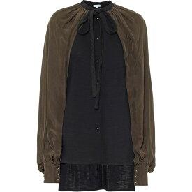 ロエベ Loewe レディース ブラウス・シャツ トップス【Caped Wool-Blend Blouse】Black Khaki