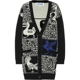 ロエベ Loewe レディース カーディガン トップス【Wool And Alpaca Jacquard Cardigan】Black/Blue