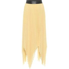 ロエベ Loewe レディース ひざ丈スカート スカート【Pleated Georgette Asymmetric Midi Skirt】Light Yellow