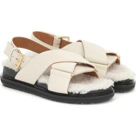 マルニ Marni レディース サンダル・ミュール シアリング シューズ・靴【Fussbet Shearling And Leather Sandals】