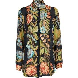 エトロ ETRO レディース ブラウス・シャツ トップス【Floral-printed silk blouse】Blu