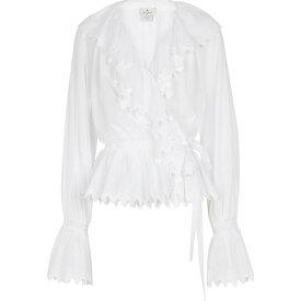 エトロ ETRO レディース トップス 【Lace-trimmed ruffled cotton top】Bianco