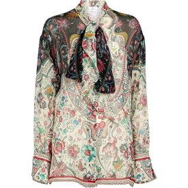 エトロ ETRO レディース ブラウス・シャツ トップス【Floral silk crepon blouse】Bianco