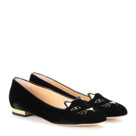 シャーロット オリンピア Charlotte Olympia レディース シューズ・靴 フラット【Kitty Flat velvet slippers】