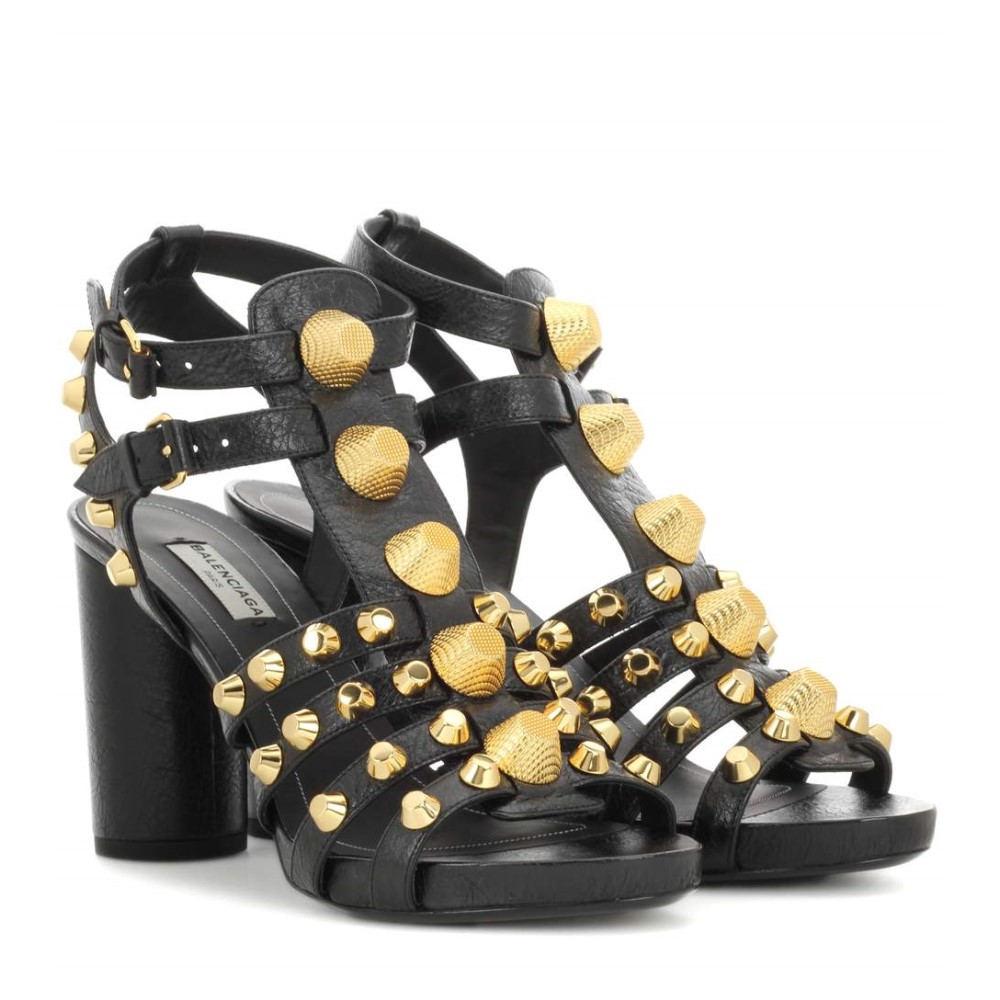 バレンシアガ Balenciaga レディース シューズ・靴 サンダル【Giant embellished leather sandals】