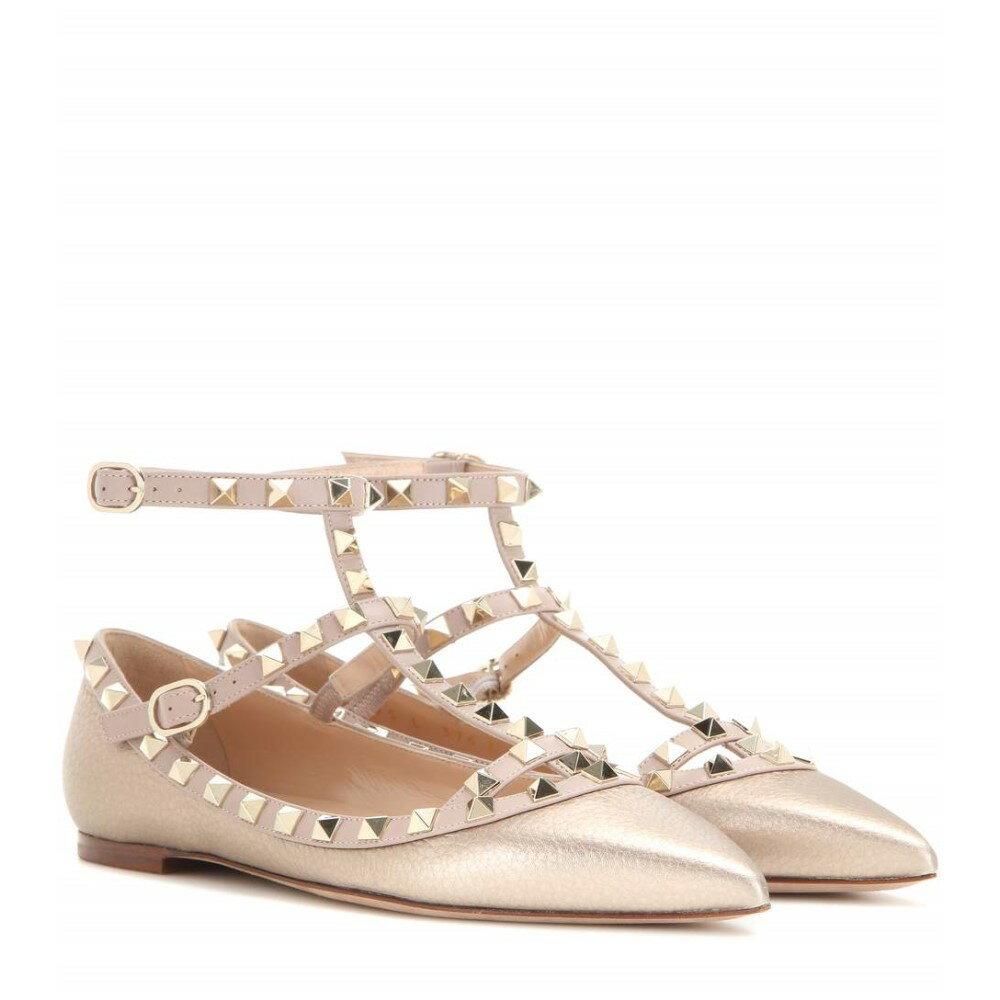 ヴァレンティノ Valentino レディース シューズ・靴 フラット【Valentino Garavani Rockstud metallic leather ballerinas】