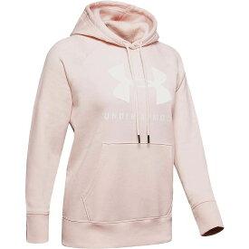 アンダーアーマー Under Armour レディース パーカー トップス【Rival Fleece Sportstyle LC Sleeve Graphic Hoodie】Apex Pink/Onyx White