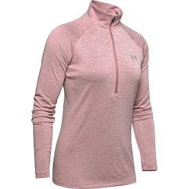 アンダーアーマー Under Armour レディース ランニング・ウォーキング ハーフジップ トップス【UA Tech Twist 1/2 Zip Top】Hushed Pink/Metallic Silver