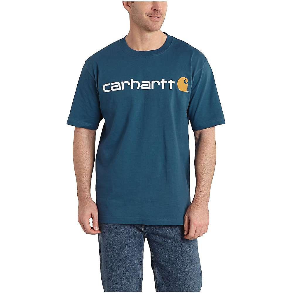 カーハート メンズ トップス Tシャツ【Signature Logo SS T-Shirt】Stream Blue