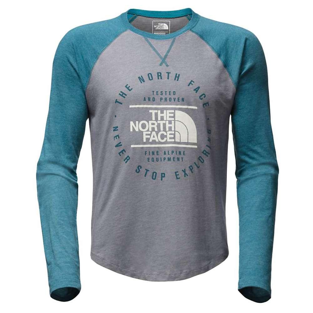 ザ ノースフェイス メンズ トップス Tシャツ【Double Bar Raglan LS Baseball Tee】TNF Medium Grey Heather / Blue Coral Heather