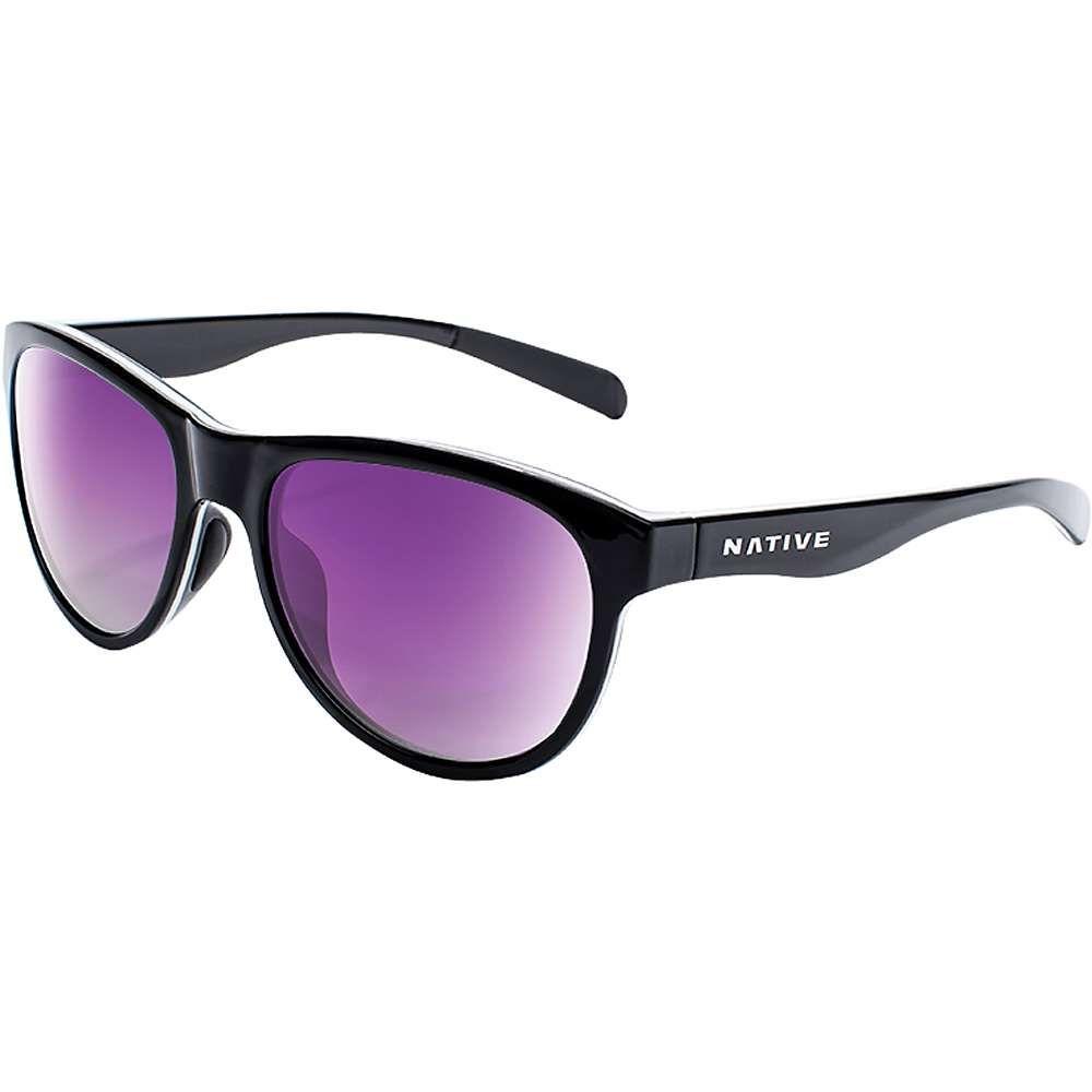 ネイティブ メンズ メガネ・サングラス【Acadia Polarized Sunglasses】Gloss Black/White / Gloss Black / Violet Reflex