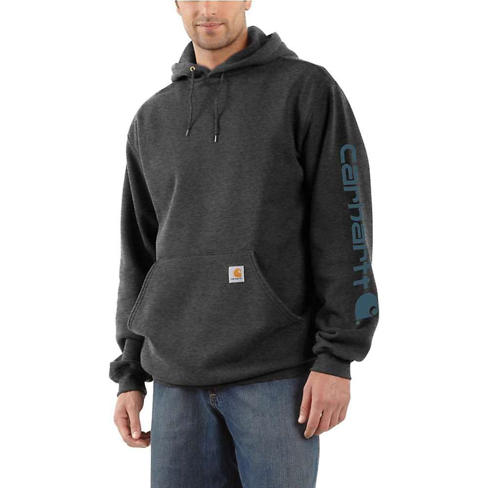 カーハート Carhartt メンズ トップス パーカー【Midweight Signature Sleeve Logo Hooded Sweatshirt】Carborn Heather / Stream Blue