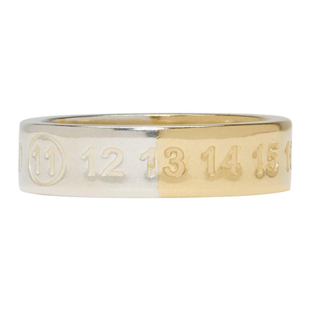メゾン マルジェラ メンズ ジュエリー・アクセサリー 指輪・リング【Silver & Gold Logo Ring】