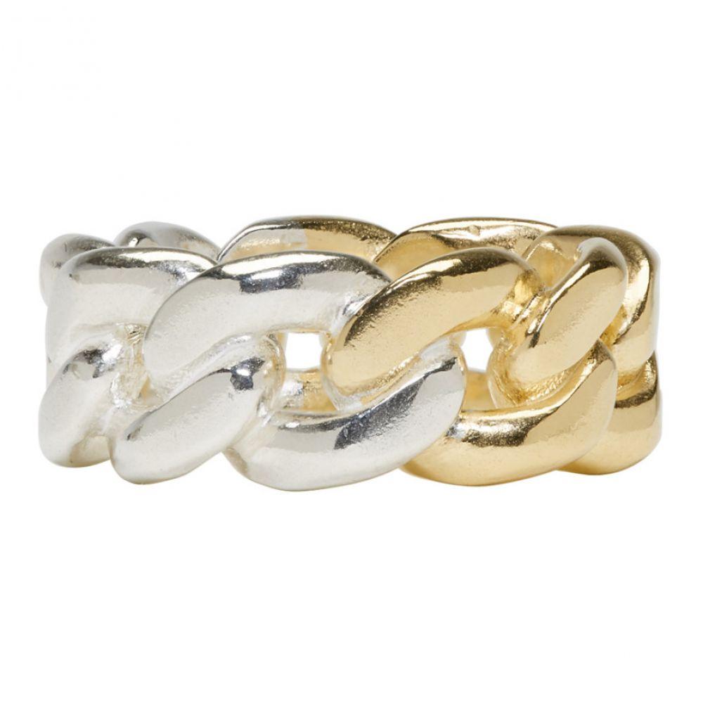 メゾン マルジェラ メンズ ジュエリー・アクセサリー 指輪・リング【Gold & Silver Curb Chain Ring】