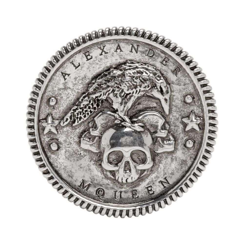 アレキサンダー マックイーン メンズ ジュエリー・アクセサリー 指輪・リング【Silver Crow Medallion Ring】