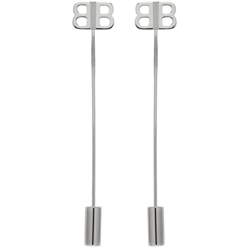 バレンシアガ Balenciaga レディース ジュエリー・アクセサリー イヤリング・ピアス【Silver BB Pin Earrings】