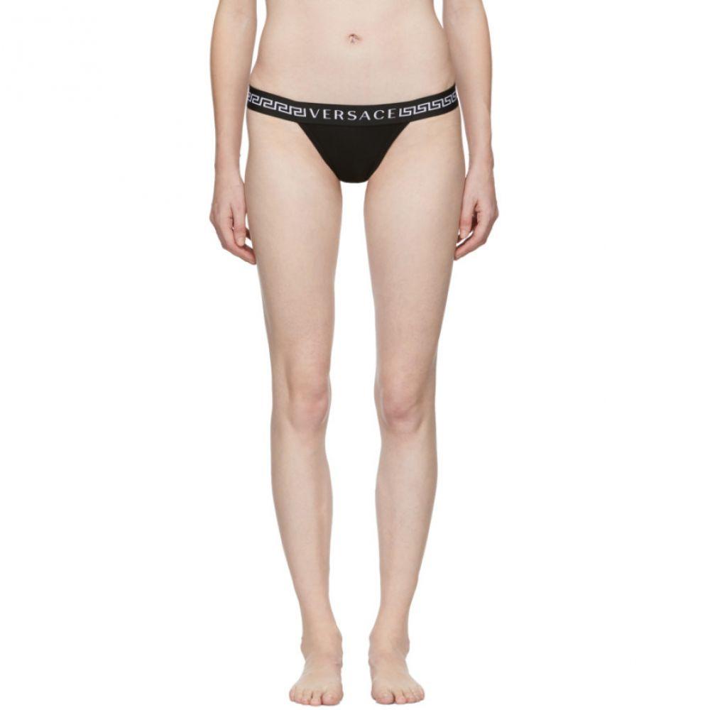 ヴェルサーチ Versace Underwear レディース インナー・下着 ショーツのみ【Black Logo Thong】