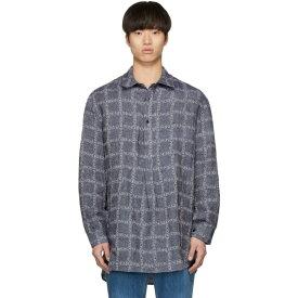 J.W.アンダーソン JW Anderson メンズ トップス シャツ【Navy Linen Grid Tunic Shirt】