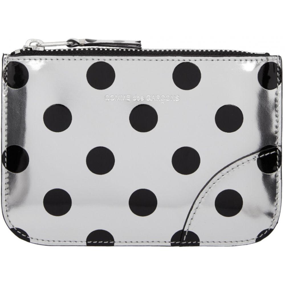 コム デ ギャルソン Comme des Garcons Wallets レディース ポーチ【Silver & Black Polka Dot Small Zip Pouch】