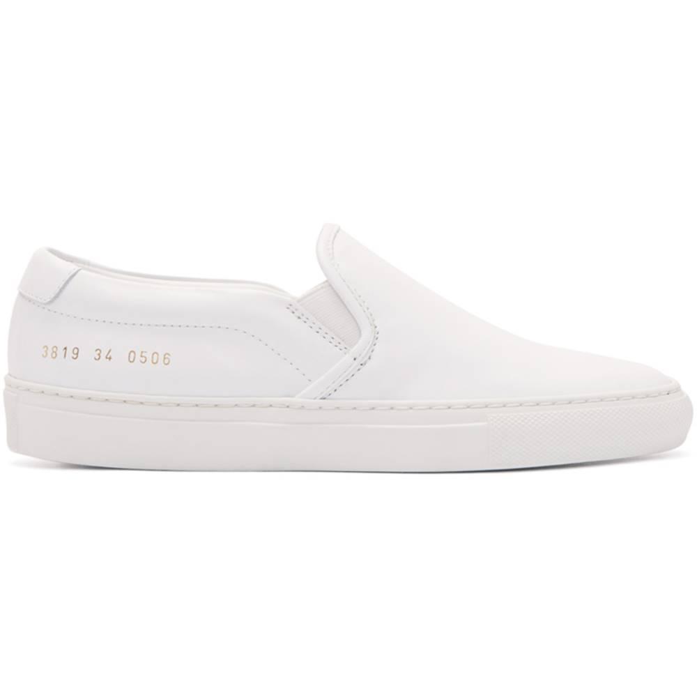 コモン プロジェクト レディース シューズ・靴 スニーカー【White Leather Slip-On Sneakers】
