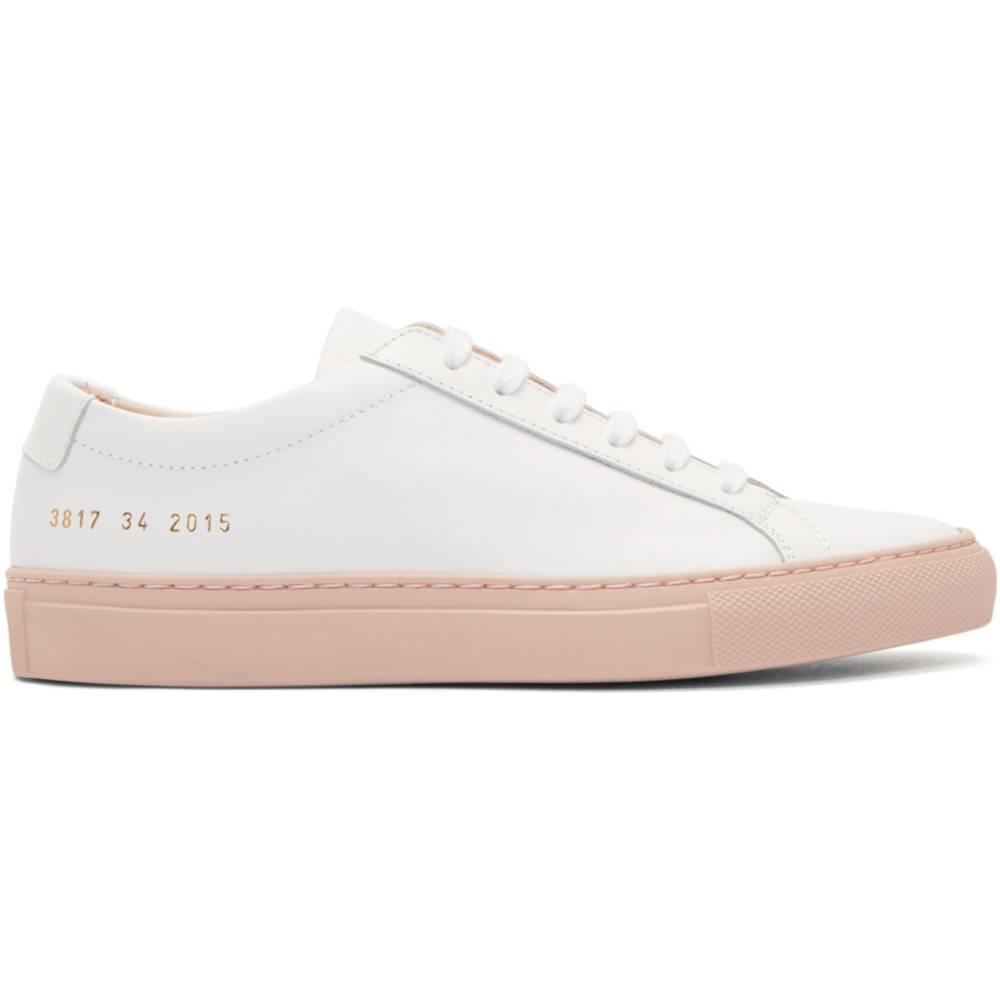 コモン プロジェクト レディース シューズ・靴 スニーカー【White & Pink Achilles Low Color Block Sole Sneakers】