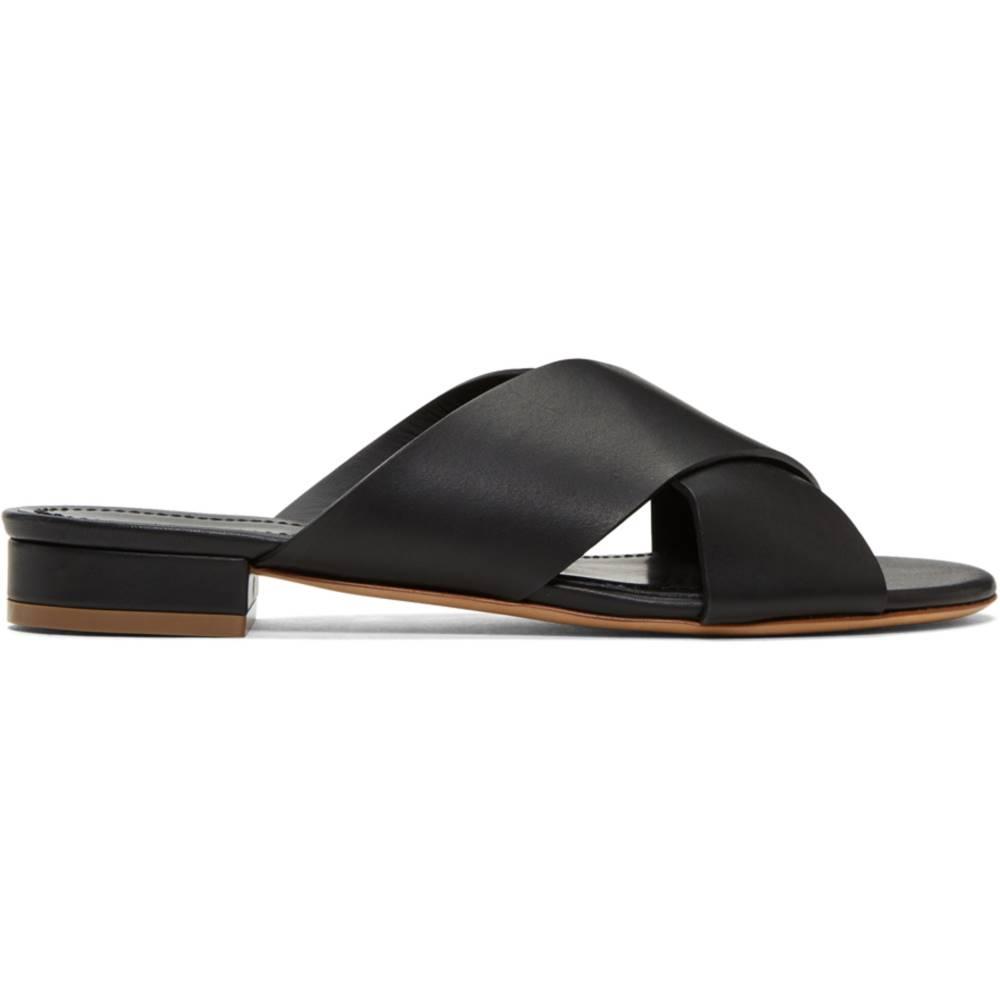 マンサーガブリエル レディース シューズ・靴 サンダル・ミュール【Black Flat Crossover Sandals】