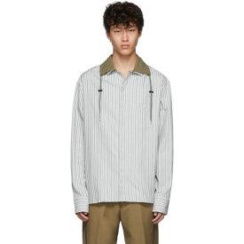 ランバン Lanvin メンズ トップス シャツ【Grey Drawstring Striped Shirt】Light grey