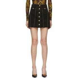 ヴェルサーチ Versace Jeans Couture レディース スカート ミニスカート【Black Denim Contrast Stitching Miniskirt】Black