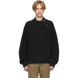 ランバン Lanvin メンズ トップス ニット・セーター【Black Wool Buttoned Collar Sweater】Anthracite