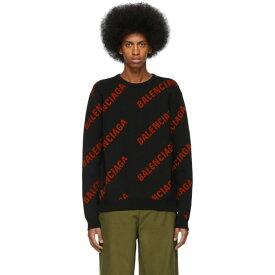 バレンシアガ Balenciaga メンズ トップス ニット・セーター【Black & Red Wool Allover Logo Sweater】