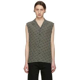 イヴ サンローラン Saint Laurent メンズ トップス ノースリーブ【Black & Off-White Silk Piranha Sleeveless Shirt】
