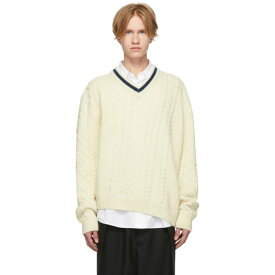 ランバン Lanvin メンズ トップス ニット・セーター【Off-White Wool & Alpaca V-Neck Sweater】Off-white