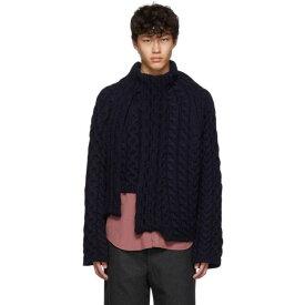 ランバン Lanvin メンズ トップス ニット・セーター【Navy Wool Asymmetric Sweater】Navy blue