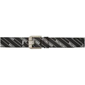 バレンシアガ Balenciaga メンズ ベルト【Black Stripe Logo Engraved Buckle Belt】Black/White