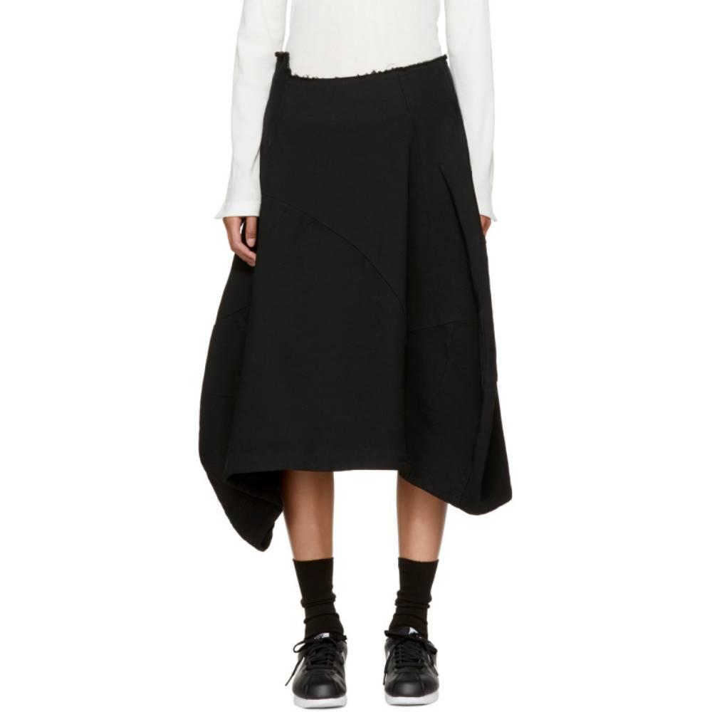 コム デ ギャルソン レディース スカート ひざ丈スカート【Black Asymmetric Crinkle Skirt】