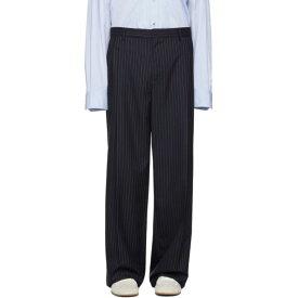 ロエベ Loewe メンズ ボトムス・パンツ【Navy Striped Pleated Trousers】Navy/White