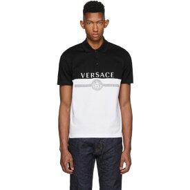 ヴェルサーチ Versace メンズ トップス ポロシャツ【Black & White Logo Polo】Black/White