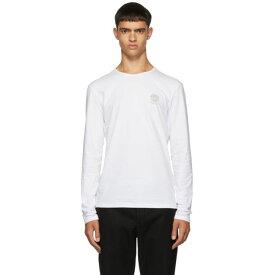 ヴェルサーチ Versace Underwear メンズ トップス 長袖Tシャツ【White Logo Long Sleeve T-Shirt】White