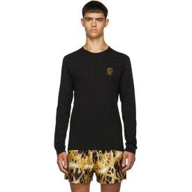 ヴェルサーチ Versace Underwear メンズ トップス 長袖Tシャツ【Black Logo Long Sleeve T-Shirt】Black