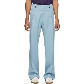 ランバン Lanvin メンズ ボトムス・パンツ スラックス【Blue Wool High-Waisted Trousers】Stormy blue