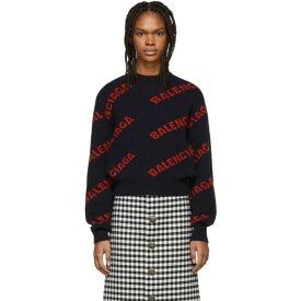 バレンシアガ Balenciaga レディース トップス ニット・セーター【Navy & Red Cropped Logo Sweater】
