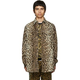 ヴェルサーチ Versace メンズ アウター ジャケット【Beige Cheetah Stud Shirt Jacket】Leopard