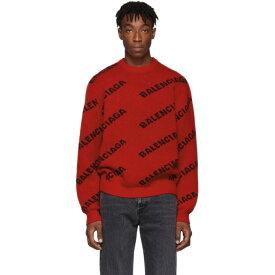 バレンシアガ Balenciaga メンズ ニット・セーター トップス【red & black wool all over logo sweater】