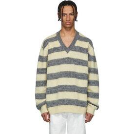 ランバン Lanvin メンズ ニット・セーター Vネック トップス【grey & yellow striped wool & alpaca v-neck sweater】