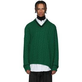 ランバン Lanvin メンズ ニット・セーター Vネック トップス【green wool & baby alpaca v-neck sweater】