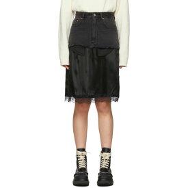 メゾン マルジェラ MM6 Maison Margiela レディース ひざ丈スカート デニム スカート【black denim overlay mid-length skirt】