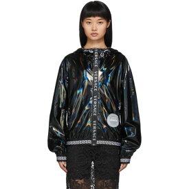 ヴェルサーチ Versace Underwear レディース パーカー トップス【black vinyl zip-up hoodie】