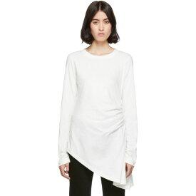 メゾン マルジェラ MM6 Maison Margiela レディース 長袖Tシャツ トップス【White Ruched Long Sleeve T-Shirt】