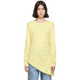 メゾン マルジェラ MM6 Maison Margiela レディース 長袖Tシャツ トップス【Yellow Ruched Long Sleeve T-Shirt】