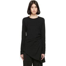 メゾン マルジェラ MM6 Maison Margiela レディース 長袖Tシャツ トップス【Black Ruched Long Sleeve T-Shirt】